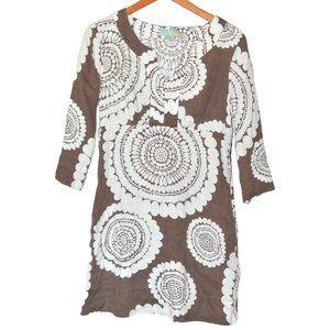 Boden Brown Floral Linen Tunic Dress 8